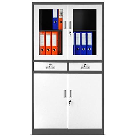 Aktenschrank C017 Flügeltür aus Glas Schubladen Medizinschrank Büroschrank Stahlschrank 185 cm (anthrazit-weiß)