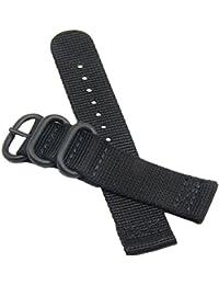 estilo superior de la NATO nylon balístico banda de reloj de reemplazo de la correa de 20 mm de gama alta para los hombres negro trenzado