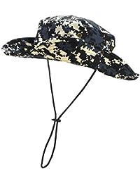 Faletony Chapeau de Boonie Camouflage Pêche Homme Femme Bob Bucket Hat Rond avec Trous de Ventilation-Polyester Coton Casual Réglable Protection Solaire Extérieur-12 Couleurs