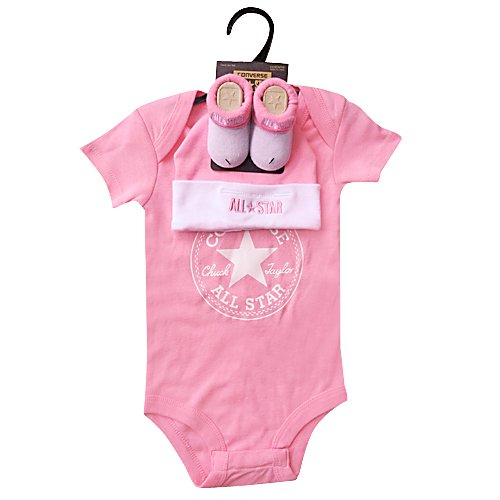 Converse Babykleidung Set Erstausstattung Baby Geschenkset Body Strampler Mütze Socken 3er Gift Set Pink Gr. 0-6 Monate