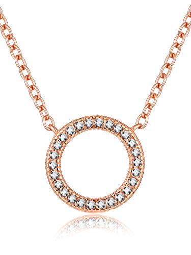 Presentski Damen Kette Rosegold-Halskette 925 Silber mit Anhänger Kreis Geometrie Zirkonia weiß 45cm|Zarte Kette Runder Anhänger - Mutter-töchter-halskette, 3 Stück