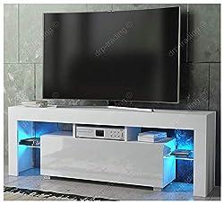 DRP Trading Modern TV Unit 130cm Cabinet White Matt and White High Gloss FREE LED RGB Lights