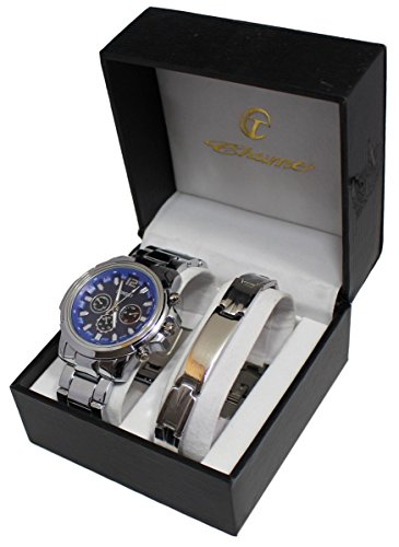 Pack Reloj para hombre función fecha y Gourmette de acero regalo Men