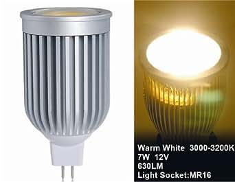 7w 12v mr16 cob blanc chaud ampoule led spot luminaires et eclairage. Black Bedroom Furniture Sets. Home Design Ideas
