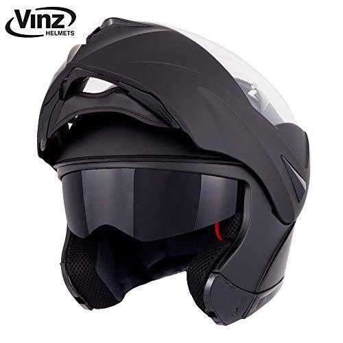 Vinz Klapphelm mit Sonnenblende PINLOCK vorbereitet | Motorrad Helm Integralhelm | Motorradhelm | In Gr. XS-XL (M, Matt Schwarz)