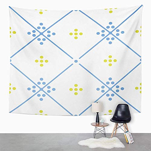 Eriesy Wall Tapestry Pink Abstract Green Blue and White Floor Tiles Pattern Arabesque Nouveau Floral Tapestry Wall Hanging Home Decorations Mysterious for Bedroom Home 150x200cm -
