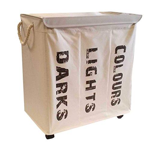 hausratplus 3er Wäschesortierer auf Rollen Wäschebox Wäschekorb sand