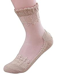 VJGOAL Moda casual de las mujeres Ultrafino transparente cristal dulce encaje elástico calcetines cortos