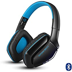 KOTION EACH Auriculares Bluetooth Wireless Headset B3506 Plegable Gaming Headset v4.1 con Microfono para PS4 PC MAC Smartphones Ordenadores(Negro+Azul)