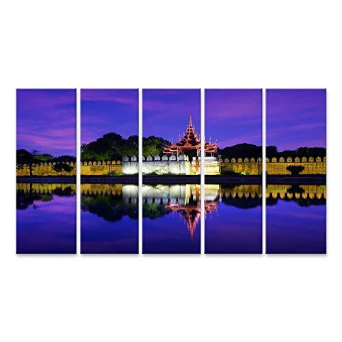 bilderfelix® Bild auf Leinwand Nachtsicht auf das Stadtbild von Mandalay mit dem berühmten Fort oder Königspalast. Myanmar (Burma) Reiselandschaften un Wandbild Leinwandbild Kunstdruck Poste -