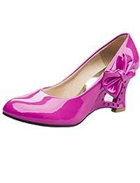 c3f4c481a8a5 Blivener Women Ladies Party Wedge Heel Pumps Patent Leather Court Shoes