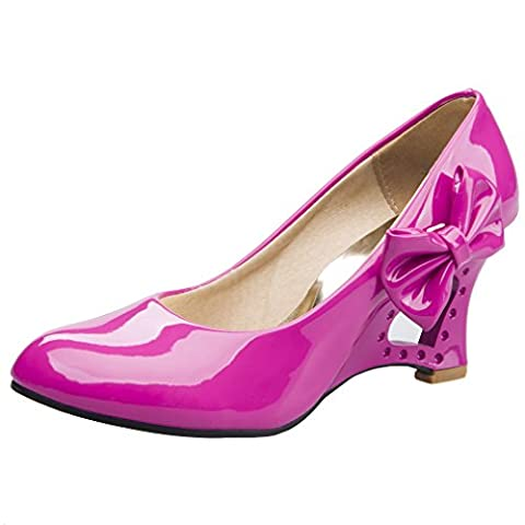 Blivener Women Ladies Party Wedge Heel Pumps Patent Leather Court Shoes Pink UK3