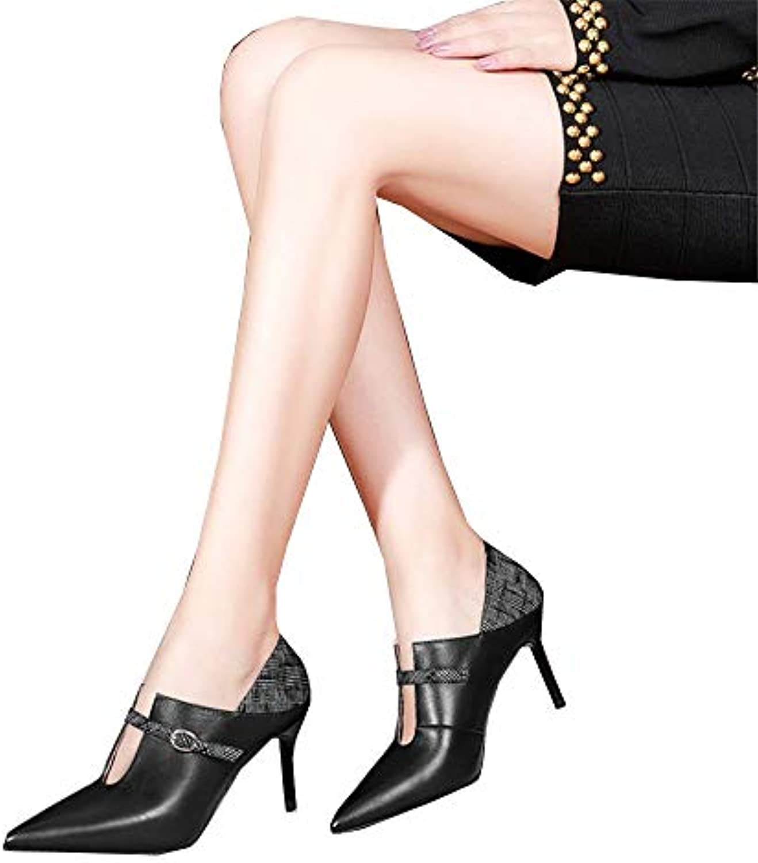 Shirloy Glamour Mode Sexy Confortable Chaussures Femmes Cuir en Cuir Femmes Boucle Pointue Talons Aiguilles Couleur Cuir Bottes... bb61db