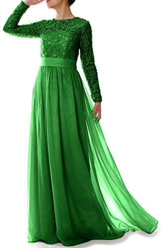 MACloth Women Lace Formal Party Evening Gown Long Sleeve Mother of Bride Dress (EU34, Green)