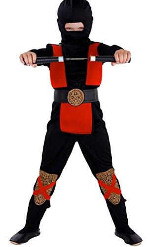 Kostüm Ninja Muskel - Magicoo Deluxe Ninja Kostüm Kinder rot schwarz mit Muskeln - komplettes Ninja Kostüm rot für Kind Jungen (122/134)