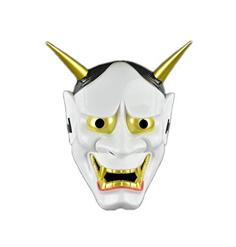 Blancho Bedding Máscara Facial Japonesa de la Máscara Blanca de la Novedad del Partido de Halloween Máscara Negra de la mueca