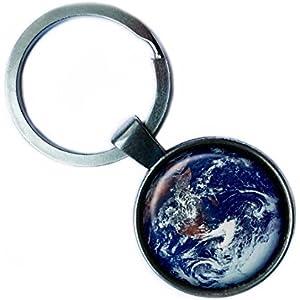 NASA Photograph Earth Wonder Foto Erde Silver Keychain Silber Schlüsselanhänger
