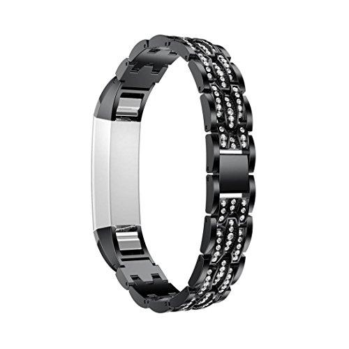 Transer® für Fitbit Alta HR / Fitbit Alta Uhrenarmband, Mode Edelstahl Ersatz Armband Strap mit Strass, Band Länge: ca. 185mm (C) (Clip Mit Armband Strap)