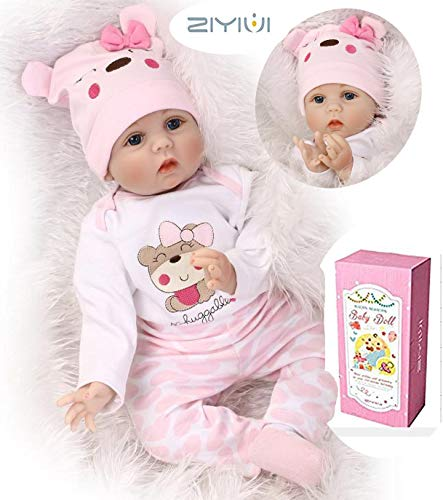 ZIYIUI 22 Pulgadas 55cm Reborn Bebé Muñecos bebé y Accesorios Niño de Silicona con Ropa Ojos Azules Realista Silicona Suave de Vinilo Reborn Dolls
