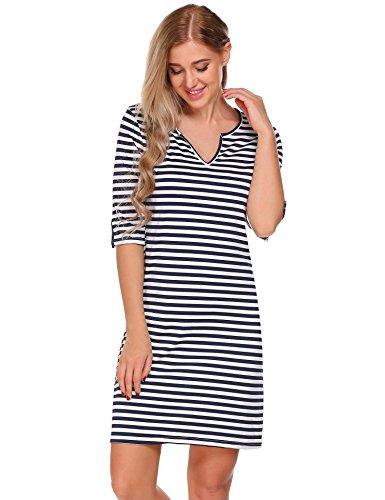 ACEVOG Damen V-Ausschnitt Gestreift Kleid Halbarm Mini Strandkleid Freizeitkleid Casual Column Kleid Blau-Weiß
