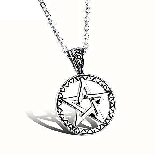 FATRWO Hohl fünfzackigen Stern Anhänger - Titan Stahl Boy Halskette, Edelstahl Schmuck | Persönlichkeit Kreativität Geschenk von Familie oder Freunden Halskette Geschenk