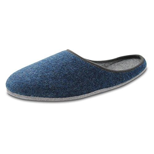 OLShop AG Herren Blau Filz Pantoffeln mit Filzsohle Gr. 46