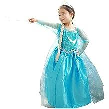 NNDOLL Elsa Vestito Bambina Costumi Carnevale Principessa Azzurro Abito(110 2-3  Anni d32105db56a