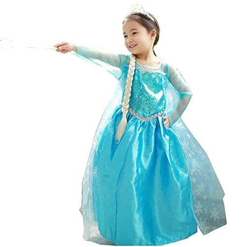 Vestito frozen bambina dress carnevale costume bimba childen blu 808 (150 - 7/8 anni)
