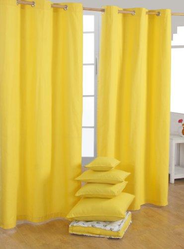 Homescapes Ösenvorhang blickdicht gelb Dekoschal 2er Set Plain Colour Breite 117 x Länge 137 cm Vorhang Paar 100% Baumwolle