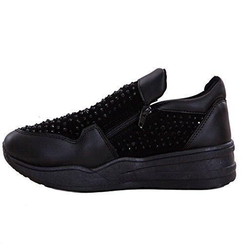 Toocool - Scarpe donna sneakers slip on strass sportive no lacci slippers nuove RA203 Nero