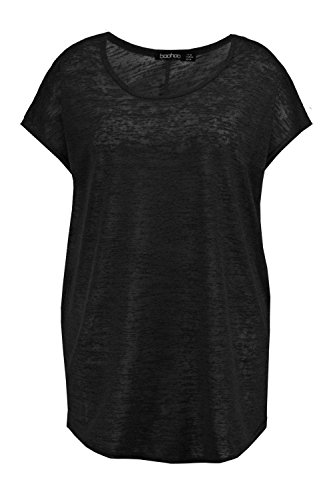 Noir Femmes Plus Emily T-shirt Surdimensionné Tricoté Noir