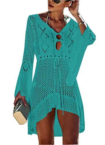 Yidarton Strandkleid Damen Gestrickte Sommerkleid Bikini Cover Up Crochet Strandponcho V-Ausschnitt Badeanzug Beachwear Cover Up (Grün)