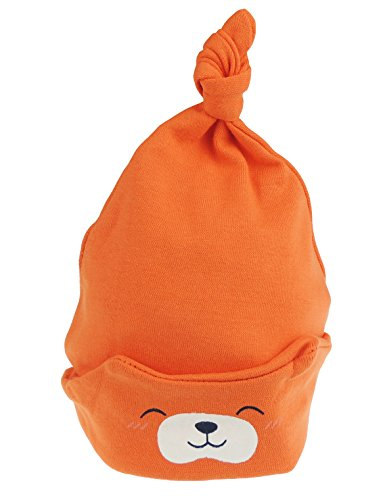 Baby-Mützchen für Mädchen und Jungen im Teddy Bär-Design, Beanie für Neugeborene bis 24 Monate Gr. Neugeboren, Orange - Designs Down Bootie