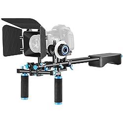 Neewer de aleación de aluminio película haciendo sistema de vídeo película Kit para Canon, Nikon, Sony y otras cámaras réflex digitales Videocámara de vídeo, incluye: (1) soporte de hombro, (1) Follow Focus y caja mate (1) (negro + azul)