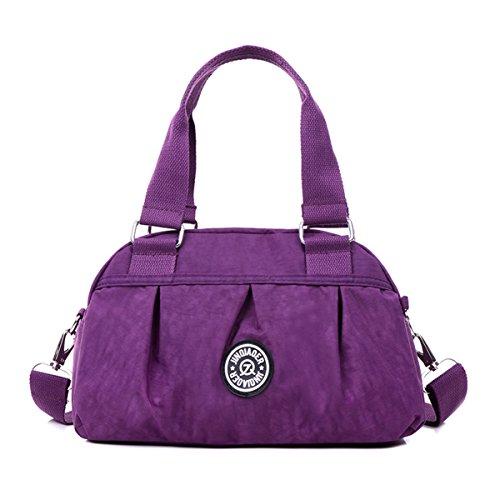 Tiny Chou Wasserabweisende Nylon-Handtasche, pure Farbe, leichte Umhängetasche/Messenger-Tasche violett