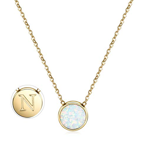 CIUNOFOR Opal Halskette Gold plattiert Runde Disc Initial Halskette Graviert Buchstabe mit Einstellbarer Kette für Frauen Mädchen