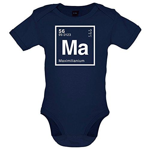 Maximilian Periodensystem - Lustiger Baby-Body - Marineblau - 6 bis 12 Monate