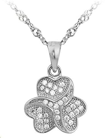 Epinki 925 Sterling Silber Damen Halskette, Glücklich Blumen Form Anhänger Statementkette Poliert Silberkette Weiß 1.35x1.22 CM mit (Glückliche Blumen-halskette)