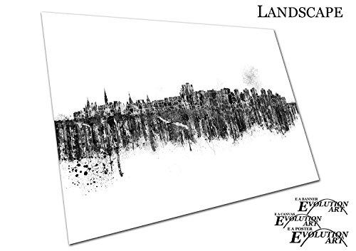 Kanada-spray (Poster Druck schwarz & weiß Painterly Spray Paint Skyline City of Ottawa Hauptstadt von Kanada - A3)