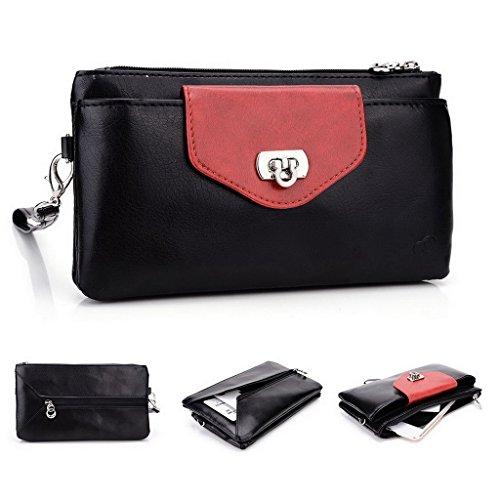 Kroo Pochette Portefeuille en Cuir de Femme avec Bracelet Étui pour LG G4Stylet/G Stylo (CDMA) noir - Noir/rouge noir - Noir/rouge