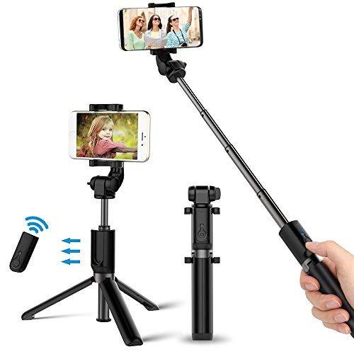 Bovon Bastone Selfie, Selfie Stick Bluetooth 3-in-1[Mini Treppiedi Stabile+Monopiede Wireless +Supporto Telefono] con Telecomando Rimovibile per lo Smartphone e la Fotocamera (Schermo:5.5-8.5cm) Nero