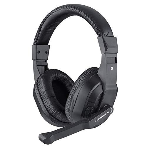Gaming-Headset mit Mikrofon für Xbox One PS4 PC Switch Tablet Smartphone, Kopfhörer Stereo Over-Ear Bass 3,5 mm Mikrofon Geräuschunterdrückung 7 LED Licht Soft Memory Ohrenschützer Schwarz schwarz - Leder Back Spiel-stuhl