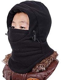 902b3790e04f VSREI Bonnet Enfant Chapeau Ski Écharpe d hiver Doublure Cotton Doux, 5 en  1 Ajustable Epais Elastique Cache Oreilles Garçon Fille en Plein Air…