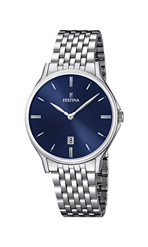 Festina Men's Quartz Watch with Blue Dial Analogue Display and Silver Stainless Steel Bracelet F16744/3