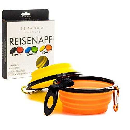 2er Hundenapf Set inklusive Flaschenhalter - Futternapf für Hund und Katze (400ml): Faltbarer Napf aus Silikon (BPA-frei), idealer Fressnapf und Wassernapf für unterwegs – Reisenapf (M, Gelb-Orange)