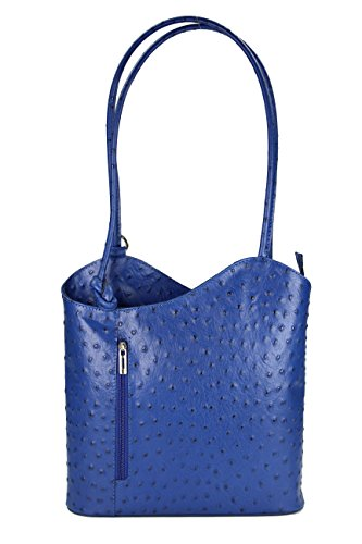 Ital. Leder Handtasche royal blau Strauß Prägung, auch auf dem Rücken tragbar - 28x28x8 cm (B x H x T) (Bella Hobo)