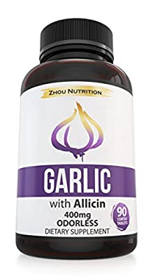 Garlic with Allicin for Intense Immunity Support & Heart Health - Enteric Coated Tablets for Easy Swallowing - Maximum Strength 400mg - Experience the Allicin Difference - 3 Month Supply by Zhou Nutrition