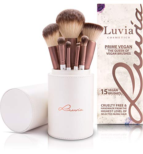 up - Prime Vegan - 15 Kabuki Schminkpinsel Inkl. Make Up Beauty Pinselhalter & Reise Schminkbeutel für Kosmetikpinsel - Profi Pinsel Set In Perlmutt/Coffee - Vegane Kosmetik ()