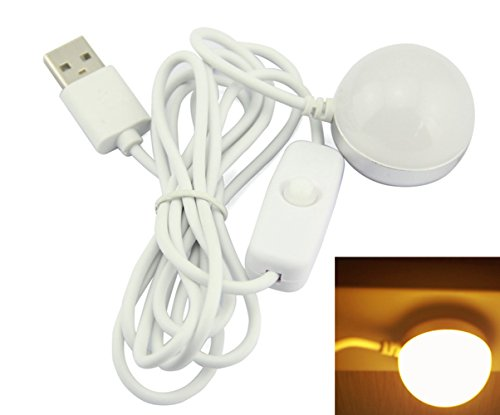 SFTlite USB Lamp LED Mini 2 W USB Magnetic Bulb Portable Camp Light Children Bed Lamp Emergency Light Warm White 3000K Cord Comes with Switch (200 lumen 20W Halogen Lamp Equivalent)[Energy Class A+] (Emergency Light Switch)
