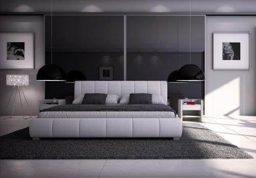 SAM® Polsterbett Innocent Designbett Latina, 180 x 200 cm in weiß, Kopfteil im modernen abgesteppten Design, Bettgestell auch als Wasserbett geeignet